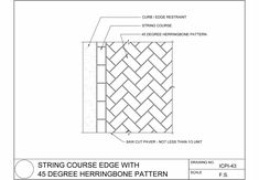 string course edge with 45 degree herringbone pattern