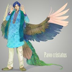 Hetalia characters as birds: India (need a name for him) as a peacock - Art by えのきんぐ