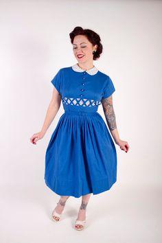 1950s Vintage DressSpring Fashion Rockabilly Blue by stutterinmama, $126.00