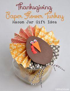 Thanksgiving Paper Flower Turkey Mason Jar Teacher Gift Idea