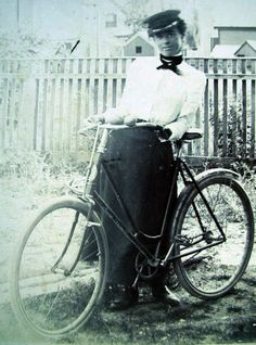 I would love to know the story of this picture. 1890s women cyclist