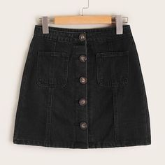 To find out about the Black Wash Button Front Pocket Patched Denim Skirt at SHEIN, part of our latest Denim Skirts ready to shop online today! Formal Winter Outfits, Hot Fall Outfits, Casual Outfits, Casual Clothes, Black Denim Skirt Outfit, Skirt Outfits, Black Denim Shorts, Fashion Models, Fashion News