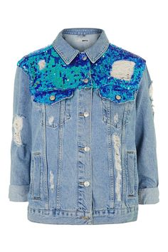 MOTO Sequin Ripped Jacket - Topshop