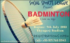 Register NOW for the First EVER Social BADMINTON League of Delhi.   For Registration and more information Call :- 9717680943, Email :- ssl@auxus.co.uk