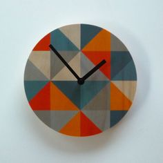 Objectify Grid  Grey/Orange Wall Clock by ObjectifyHomeware, $26.00