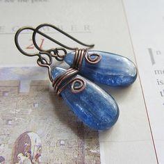 Kyanite Earrings handmade.  Blue Copper.  by SuzyRocksDesigns