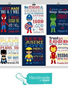 African American Superhero Set of 6 - Christian Wall Art Print - Captain America, Ironman, Hulk, Batman, Wolverine, Spiderman - Bible Verse Nursery Playroom or Childrens Room Decor from Pixie Paper https://www.amazon.com/dp/B01N58HLOV/ref=hnd_sw_r_pi_awdo_vyetybEF2A0BK #handmadeatamazon - Visit to grab an amazing super hero shirt now on sale!