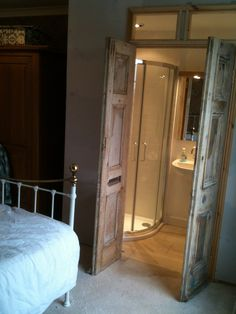 Cupboard-style en-suite addition in century bedroom 18th Century, Cupboard, Oversized Mirror, Spaces, Bedroom, Furniture, Home Decor, Style, Clothes Stand