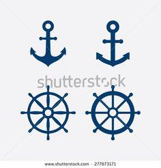 Anchors and steering wheel / ship wheel icons set - Nautical symbols. Vector illustration - stock vector