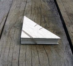 Handmade paper folded book in off white. Perfect by Marinabooks