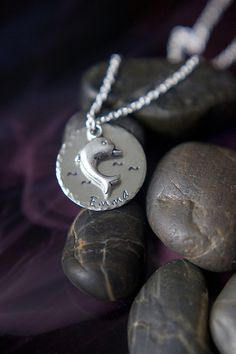 Dolphin Personalized Name Necklace  Silver by DistinctlyIvy, $14.98
