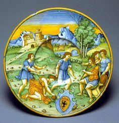Atalanta's Race against Hippomenes  Maker(s) & Production:  Manara, Baldassare, painter, Italian, b. Faenza, active ca. 1526-1547, Emilia-Romagna, Faenza-Fitzwilliam Museum