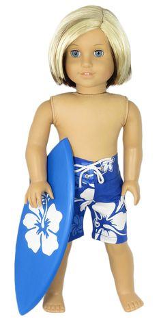 T Shirt Swimwear Pants Beach Ball For 18 in American Girl Logan Boy Doll