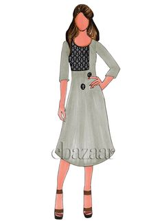 Buy Grey Cotton Up N Down Kurti online, SKU Code: This Black color After Six knee length kurti for Women comes with Printed Blended Cotton. Dress Design Sketches, Fashion Design Sketches, Drawing Sketches, Sketching, Art Drawings, Diy Fashion Dresses, Fashion Drawing Dresses, Fashion Outfits, Dress Illustration