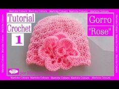 """Gorro Bebé """"Rose"""" Crochet (1) por Maricita Colours Tutorial Gratis Ganchillo - YouTube"""