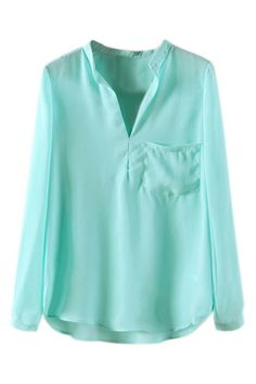 ROMWE | ROMWE Asymmetric Mandarin-collar Pocketed Green Blouse, The Latest Street Fashion