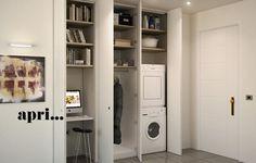 Wall-mounted storage unit COMBI by Sistemi RasoParete® Tall Cabinet Storage, Locker Storage, Mad Design, Buffet, White Rooms, Closet Doors, Inspired Homes, Laundry Room, Kitchen Decor