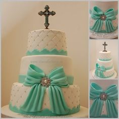 Tiffany colored Baptism Cake @Judi Krueger remind me of this when I have a kid someday.