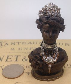 Dollhouse miniatures original vintage handmade Miniature 1:12 scale bust with rhinestone necklace and tiara  by HeirloomsbyChanel on Etsy