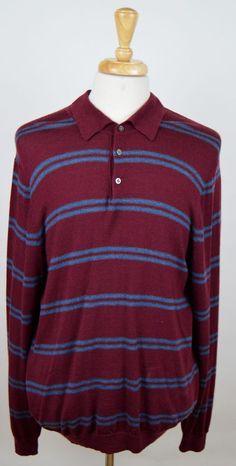 men's Brooks Brothers 346 burgundy blue LS Italian Merino Wool polo XL sweater #BrooksBrothers346 #Polo