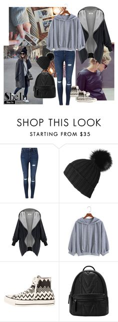 """SheIn Sweatshirt"" by alien-official ❤ liked on Polyvore featuring Miss Selfridge, WithChic and Converse"