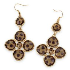 Tortoiseshell Stone Deco Casting Drop Earrings [EYPWE1023GDBR] Wholesale24x7.com - Fashion Scarves and Accessories Wholesale, One Stop Wholesale Shopping for Scarves, Jewelry and Fashion Accessories!
