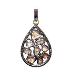 925 Sterling Silver 1.85 Ct Slice Diamond 14k Gold Drop Pendant Handmade Jewelry #Handmade #Pendant