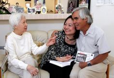 From right, Associated Press staff photographer Nick Ut, Phan Thi Kim Phuc and Dr. My Le, who treated Kim Phuc two days after a napalm attack in Vietnam 40 years ago, sit together during a reunion in Buena Park, Calif., June 2, 2012. (Jae C. Hong/AP Photo)