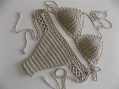 EXPRESS SHIPPING Beige Crochet Bikini Women от cheerfulboutique