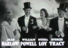 Libeled Lady (1936) jean harlow, william powell, myrna loy and spencer tracy in opening credits