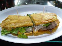 El jibarito. Puertorican style sandwich made of plaintain yumm!