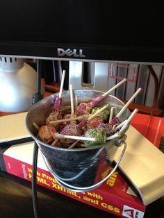 Bucket brigade (standard equipment on every desk). Bucket Brigade, Serving Bowls, Desk, Good Things, Culture, Tableware, Food, Mixing Bowls, Desktop
