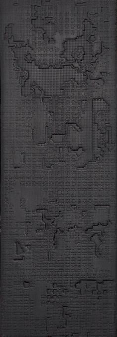 Indoor porcelain stoneware wall/floor tiles BAS-RELIEF CLOUD NERO BAS-RELIEF Collection by MUTINA | design Patricia Urquiola