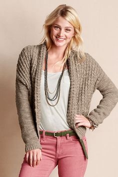 Outfit 4: Women's Open Shawl Cardigan from Lands' End Canvas in fawn! This cardigan looks oh so comfy and perfect to pair with any color! #CanvasChinos