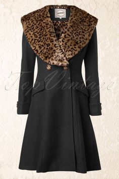 Banned - 50s Black Winter Coat With Leopard Print
