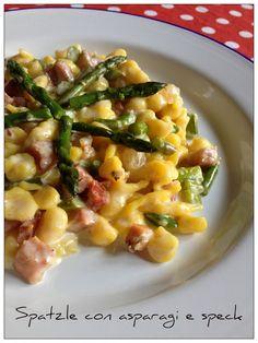 Vivi in cucina: Spatzle allo zafferano con asparagi e speck