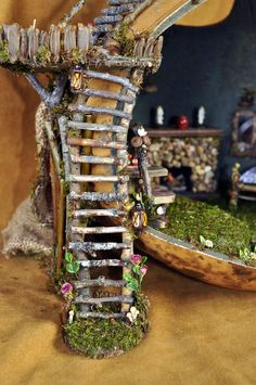 """We design and create fairy houses, dollhouses,  fairy furniture and dollhouse miniatures for all variety of magical beings :). All products are lovingly crafted in our woodland studio using forest bits and fairy dust (which was acquired some time ago)... All items are 1:12 scale, that is 1"""" = 1'.   Thanks for looking!"""