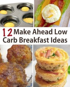 Easy low carb breakfast ideas you can make ahead of time! Great for busy weekday… Easy low carb breakfast ideas you can make ahead of time! Great for busy weekday mornings. Diabetic Breakfast Recipes, Low Carb Breakfast Easy, Breakfast Desayunos, Low Carb Recipes, Healthy Recipes, Breakfast Ideas For Diabetics, Low Card Breakfast Ideas, Atkins Breakfast, Easy Diabetic Meals