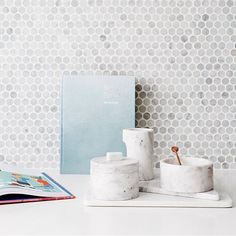 Marble Basics beauties sitting pretty in the recent kitchen transformation by @becjudd for her new series @thestyleschool... How gorgeous does this look! Shop the range including our favourite Sugar Box With Copper Spoon online at basichabitat.com