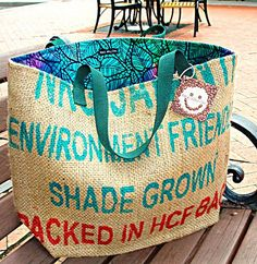 Large India Burlap Tote with Colorful Batik by BackAlleyChic, $52.00