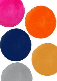 Fuchsia + bright orange + indigo + golden yellow + gray