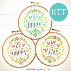 Modern quote Cross Stitch KIT DIY -Be Happy Be Brave Be Kind - Floral Happy Modern Funny typo graphic Love Spring Celebrations Easter gift