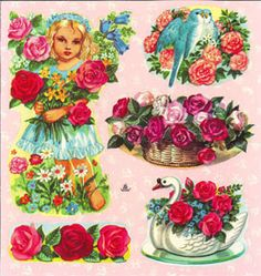 Saga scraps doll and flowers Decorative Plates, Scrap, Dolls, Tableware, Flowers, Painting, Vintage, Home Decor, Album
