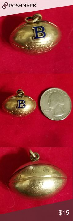 Brooklyn City College football charm 1928 GF Gift for a BCC alum. Gold-filled football charm. Can see patina of age and all the markings are worn. I believe mark reads 1/10 G, pics 4 and 5,  which would mean it is 1/10th gold. The B is dark blue enamel. The year is 1928, pic 3, hard to read and get clear picture. This was my father's, on the football team at B.C.C. in 1928, so I am sure about those specifics. Marks MCC may refer to conference or championship. Vintage, almost antique…