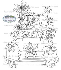 "Digital Download StampYou get one Black & White image to print over and over again to color up! Have FUN""From My Art Table To Yours""Sherri BaldyPersonal Use OnlyDigital Download by The Artist! Relax, unwind, get creative and enjoy coloring with My Besties from artist Sherri Baldy! Her Fun Big Eyed Fairy Besties are great coloring for all ages, adults and children too. Color them all up yourself OR have a coloring party and color with your Bestie Pals.... Sherri's Bestie images have been… Christmas Truck, Christmas Colors, Christmas Crafts, Christmas Drawing, Christmas Paintings, Colouring Pages, Coloring Books, Printable Adult Coloring Pages, Christmas Coloring Pages"