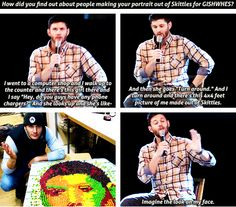 (gif set) Jensen Learns About His GISHWHES Skittles Portraits