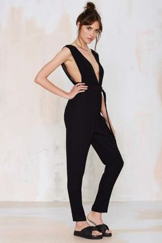 Nasty Gal Deep Love Plunging Jumpsuit - Rompers + Jumpsuits | Rompers + Jumpsuits
