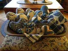 Homespun Hearts...love the fabrics of the hearts & the bowl they are in!!