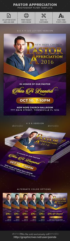 Pastor Appreciation Flyer Template — Photoshop PSD #celebration #Church Flyer • Available here → https://graphicriver.net/item/pastor-appreciation-flyer-template/17909267?ref=pxcr