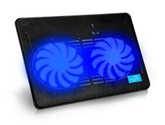 Laptop Cooler, Aicheson Ultra Slim Laptop Cooling Pad Chill Mat with 2 Heavy Duty Quiet Fans USB Powered with LED Lights | Laptop Accessories
